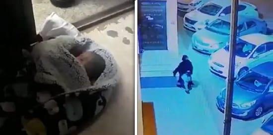 فيديو امرأة فى جدة تلقى رضيعها على باب مسجد