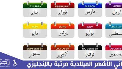 معاني الأشهر الميلادية مرتبة بالإنجليزي